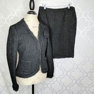 Nine West Black Wool Tweed Shimmer  Skirt Suit